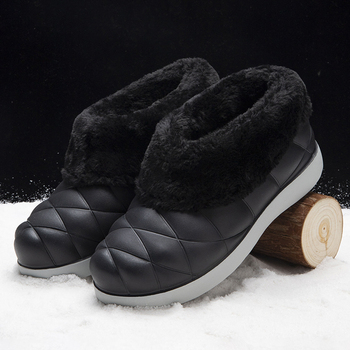 2020 Women Winter Snow Boots Warm Flat Plus Size Platform Lace Up Ladies Women's Shoes New Flock Fur Suede Ankle Boots Female - Black, 35