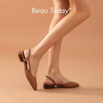 BeauToday Sandals Women Waxing Calfskin Genuine Leather Cover Toe Slingback Summer Ladies Casual Med Heel Shoes Handmade 31154