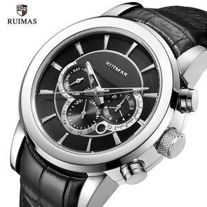 Image 2 - RUIMAS Automatische Militär Uhren Wasserdicht Sport Armbanduhr Lederband Mechanische Uhr Mann Relogios Masculino Uhr 6767