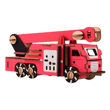 Laser Cutting DIY Fire truck Toys 3D Wooden Puzzle Toy Assembly Model Wood Craft Kits Desk Decoration Educational toy for kids
