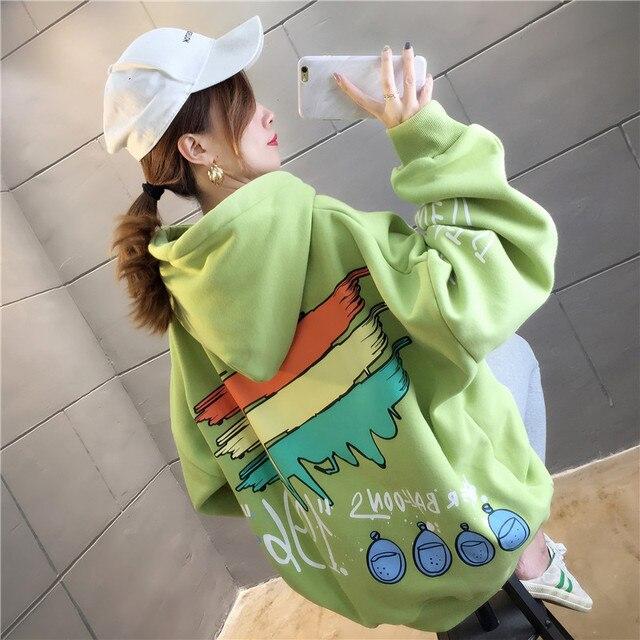 Harajuku Cartoons Printed Graphics Oversized Hoodies Women Winter Autumn Fleece Hooded Sweatshirt Cute Pockets Pullover Tops 4