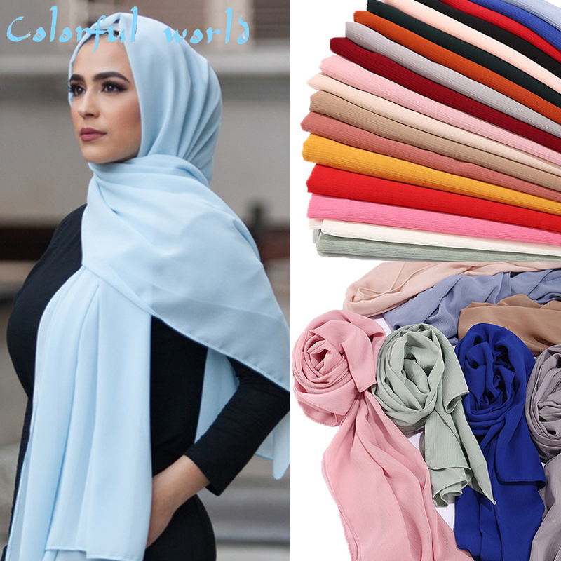 New Chiffon Hijab Women Plain Bubble Chiffon Scarf Hijab Wrap Printe Solid Color Shawls Headband Muslim Hijabs Scarves Scarf