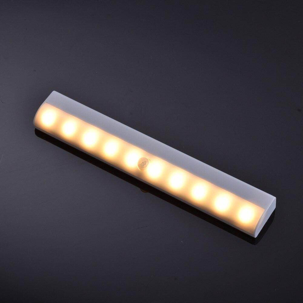 10 LED Motion Sensor Night Light Portable Closet Lights Battery Powered Wireless Cabinet IR Infrared Motion Detector Wall Lamp