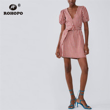 ROHOPO Red White Plaid Belted V Collar Puff Sleeve Autumn Pleated Dress #2245 plus flounce sleeve self belted plaid top