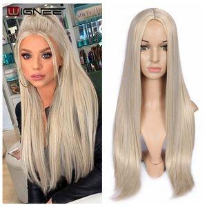 Image 1 - Wignee długie proste włosy peruka syntetyczna dla kobiet blond naturalne środkowa część włosów żaroodporne FiberNatural codzienne włosy peruka