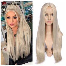Wigneeロングストレートヘア合成かつらブロンド自然な中間部分の毛耐熱fibernatural髪かつら