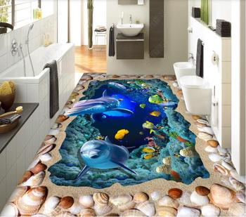 custom dolphin wall papers home decor self adhesive flooring Living room bedroom vinyl floor mural wallpaper 3d photo wall mural