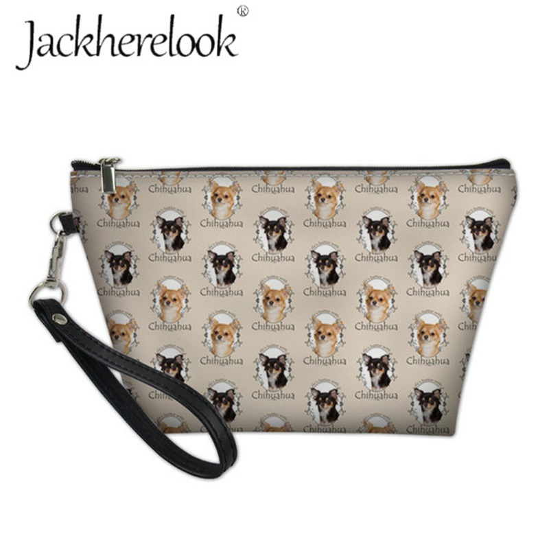 Jackherelook Pretty Chihuahua Makeup Organizer Bag Women Mini Dog Printing Cosmetic Kit Case Beauty Wash Toiletry Bags For Femme