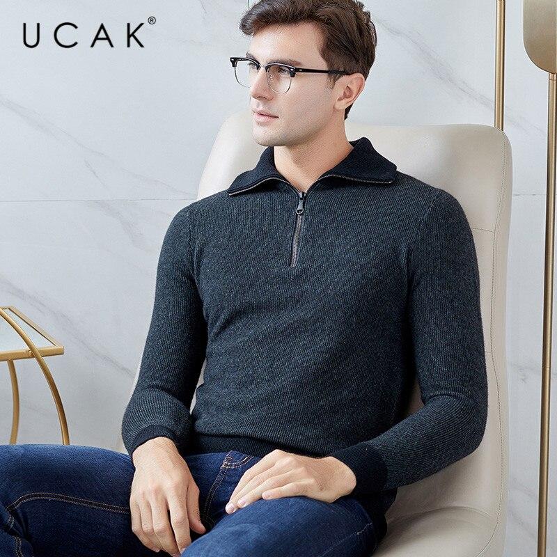 UCAk Brand Sweater Men 2019 New Arrival Casual Zipper Turtleneck Streetwear Pure Merino Wool Warm Thick Sweaters Pullover U3127