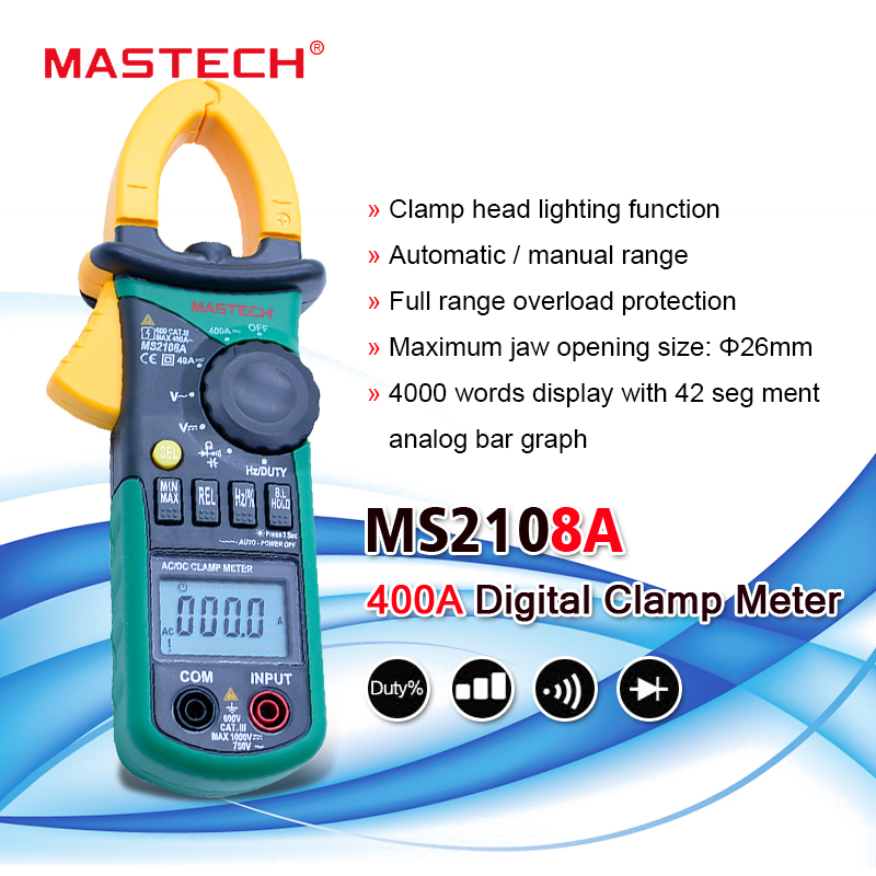 Mastech Multimeter-Tester Digital-Clamp-Meter Current MS2108A Frequency-Clamp Auto-Range