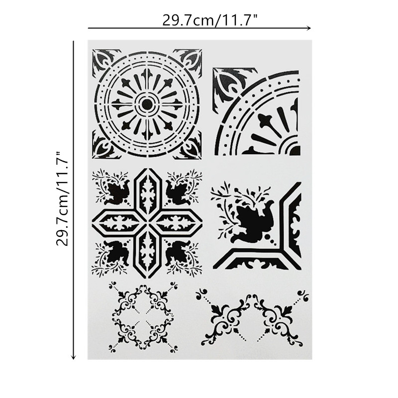 DIY Painting A4 Size Vintage Pattern Layering Template Stencils For Tile Floor Fabric Furniture Painting Decorative