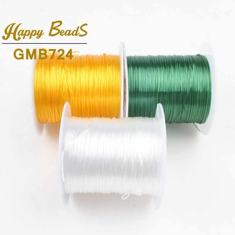 10 m/rollo 0,8mm Multi-Colores fuerte elástico cuentas de alambre Hilo de cristal cable para joyería DIY pulseras