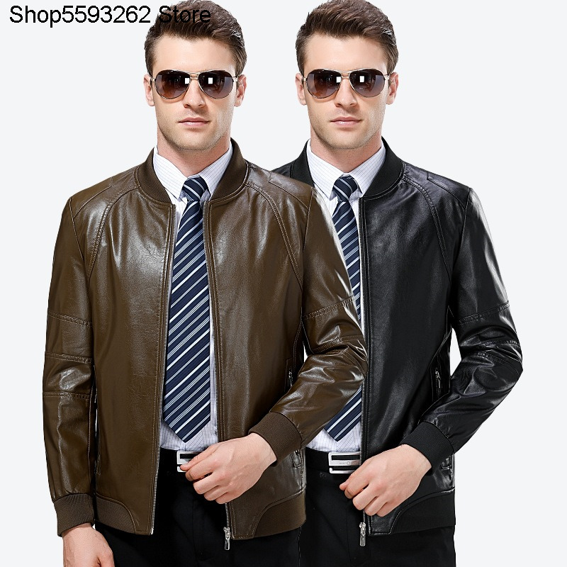 Haining Middle Age Genuine Leather Leather Coat Male Middle-aged And Elderly Piri Collar Jacket Dad Pack Plus Velvet Coat