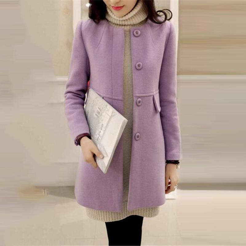 Plus Size Solid Color Overcoat A-shaped Long Sleeve Coat Women Outwear 32