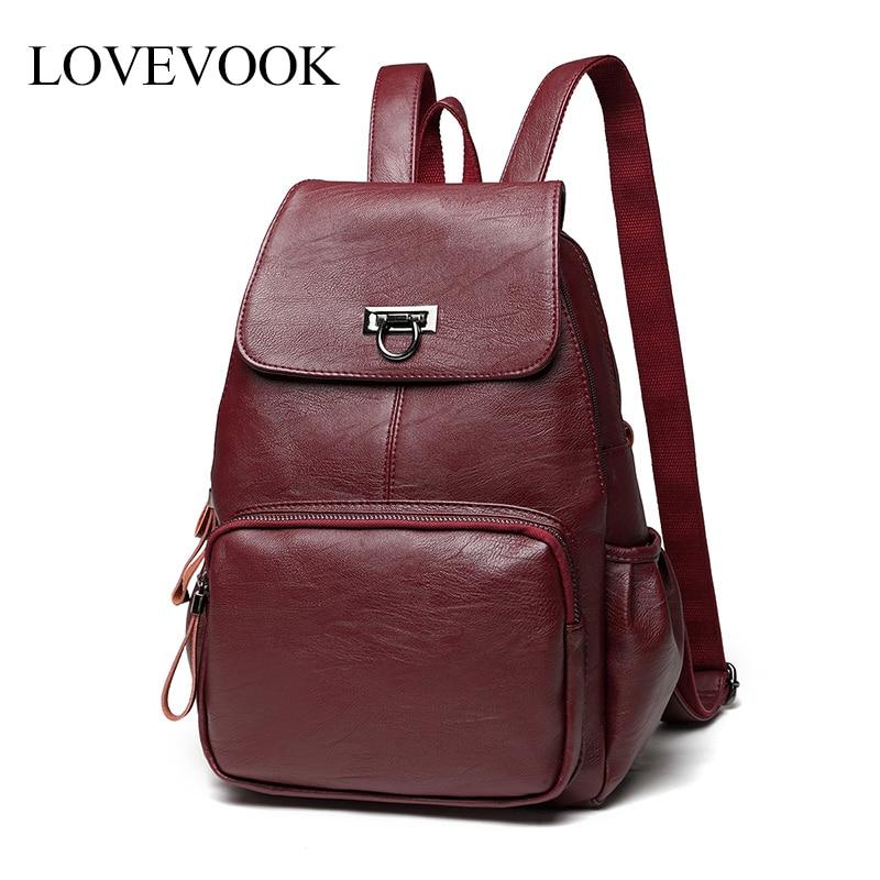 Lovevook women backpacks school backpacks for teenage girls vintage retro sheepskin backpack female large capacity bag pack 2020