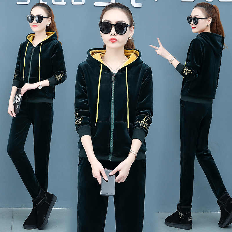 Autumn and winter Womens jacket 2 Piece Sweatsuits Tracksuits Fashion Velvet Outfits Hoodie & Pant Zip Sweatshirt Jogging Suit