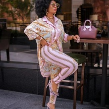 2 Piece Sets African Sets For Women New African Print Elastic Bazin Baggy Pants Rock Style Dashiki Famous Suit Lady Outfits