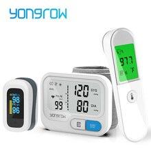 Yongrow Wrist Medical Digital Blood Pressure Monitor Sphygmomanometer Finger Pulse Oximeter body thermometer Temperature gun