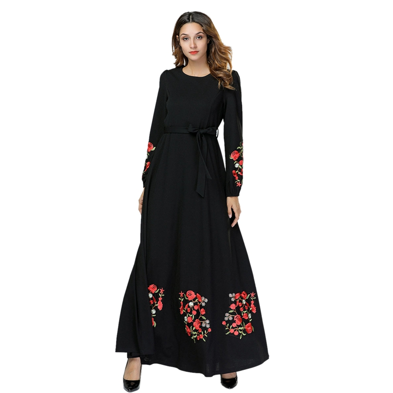 Women Elegant Dress Muslim Long Dress Embroidered Flowers Black Maxi Dresses Long Sleeved Big Swing Dress Muslim Party Dress Ara