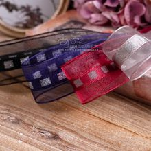 100yards 16 25 38mm silver plaid stripe organza sheer ribbon for bouquet flower packing bow wedding party decoratio supplies