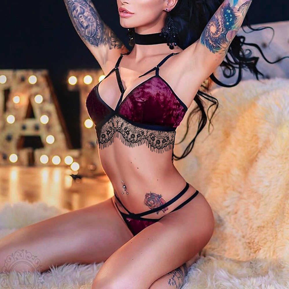 <font><b>Fashion</b></font> Bra And G-string Exotic Set <font><b>Women</b></font> <font><b>Sexy</b></font> Velvet Lace <font><b>Babydoll</b></font> Underwear Set <font><b>Ladies</b></font> <font><b>Lingerie</b></font> Plus Size Sleepwear Nightwear image