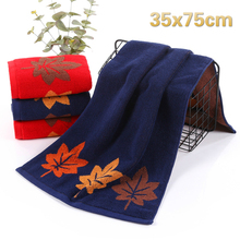 NEW Simple Solid Color Maple Leaf Pattern Jacquard Cotton Washcloth Home Grooming Towel Bathroom Bath Couple Wedding Gift