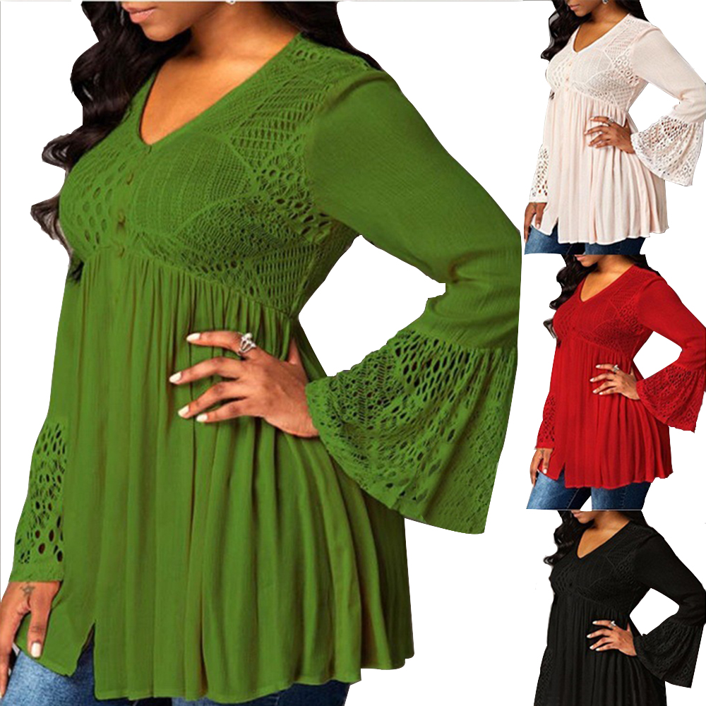Wipalo Autumn Winter S-5XL Plus Size Women T-Shirts Solid V Neck Long Flare Sleeve Pullover Lace Hollowout Patchwork Casual Tops