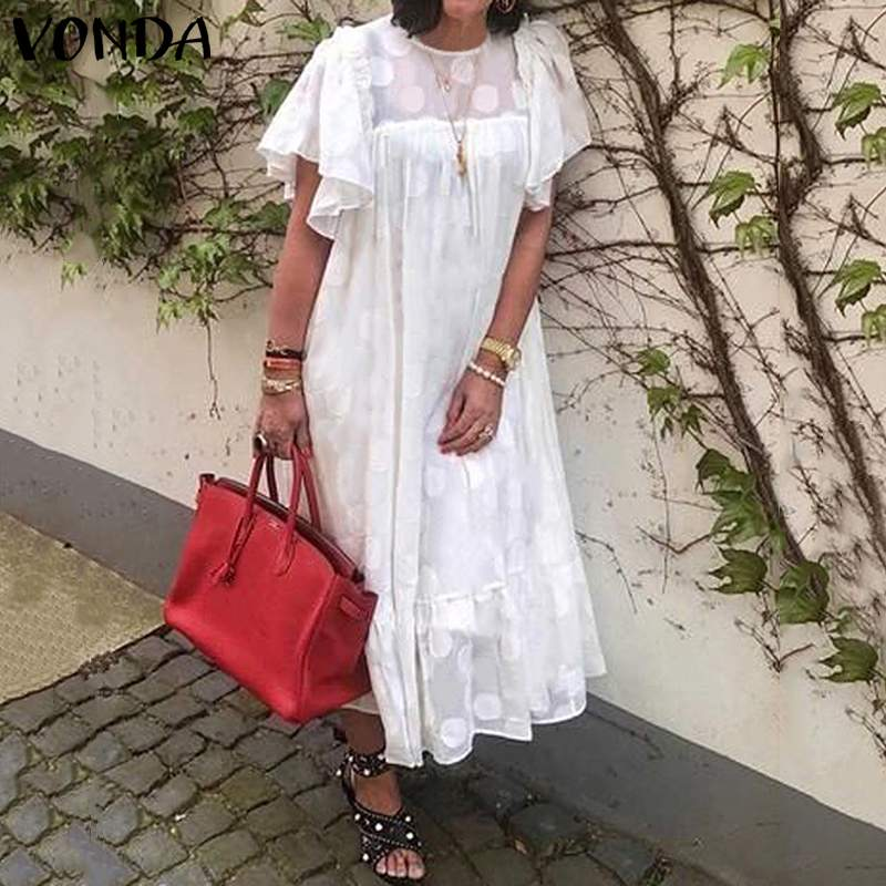 VONDA Women Summer Half Sleeve Knee Length Dress Solid Color Hollow Out Party Dresses Loose Bohemian Sundress Plus Size Robe 5XL
