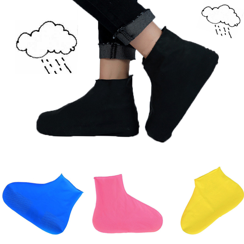 1 Pair Low/High Tube Waterproof Rain Shoes Covers Reusable Latex  Slip-resistant Rubber Rain Boot Overshoes Shoes Accessories