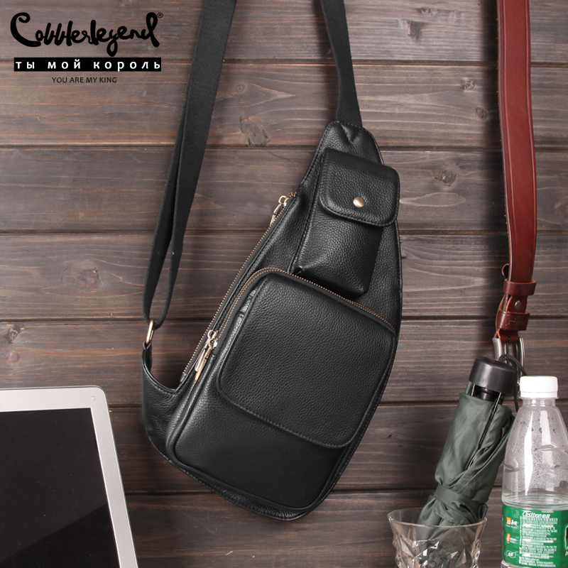 Cobbler Legend Black Men Genuine Leather Sling Chest Back Day Pack Travel Designer Crossbody Messenger Shoulder Bag