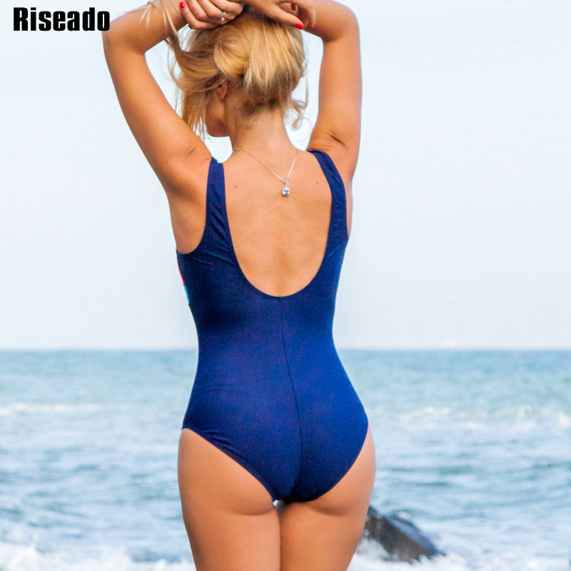 Riseado New One Piece Swimsuit Women 2019 Sport Competition Swimwear Patchwork Racing Swimming Suits for Women U-back Bathers 3