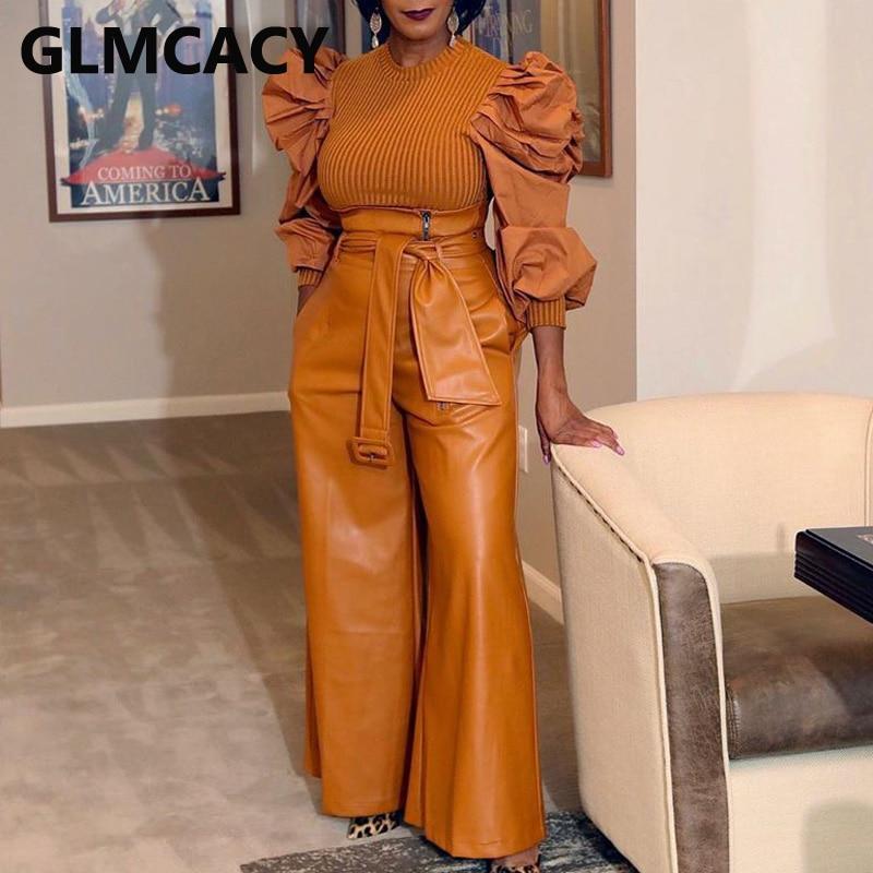 Женские брюки из искусственной кожи с высокой талией, Классические широкие брюки