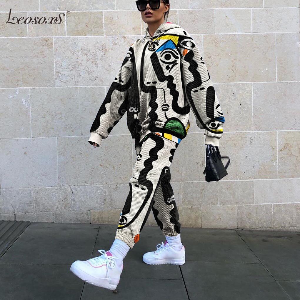 2 parça Set kadın eşofman yeni eğlence baskı tasarım ince kazak pantolon takım elbise sonbahar gevşek rahat kızlar artı boyutu 3XL