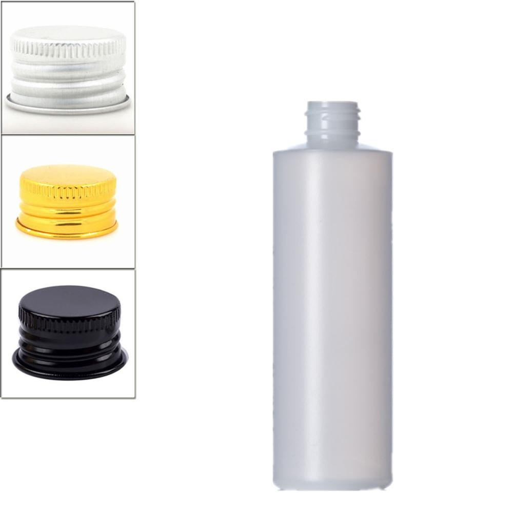 250ml Empty Plastic Soft  Bottle , HDPE Cylinder Round With Silver/gold Aluminum Screw Caps