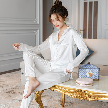 Autumn Women's Long Sleeves Sleepwear White 2 Piece Women Wear Pijama Mujer V-Neck Loungewear Pajama Set Loungewear Sleep Set фото