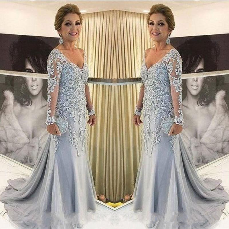 Mother Of The Bride Dresses 2019 Vestido De Madrinha V Neck Long Sleeves Mermaid Lace Appliques Beads Long Plus Evening Gowns