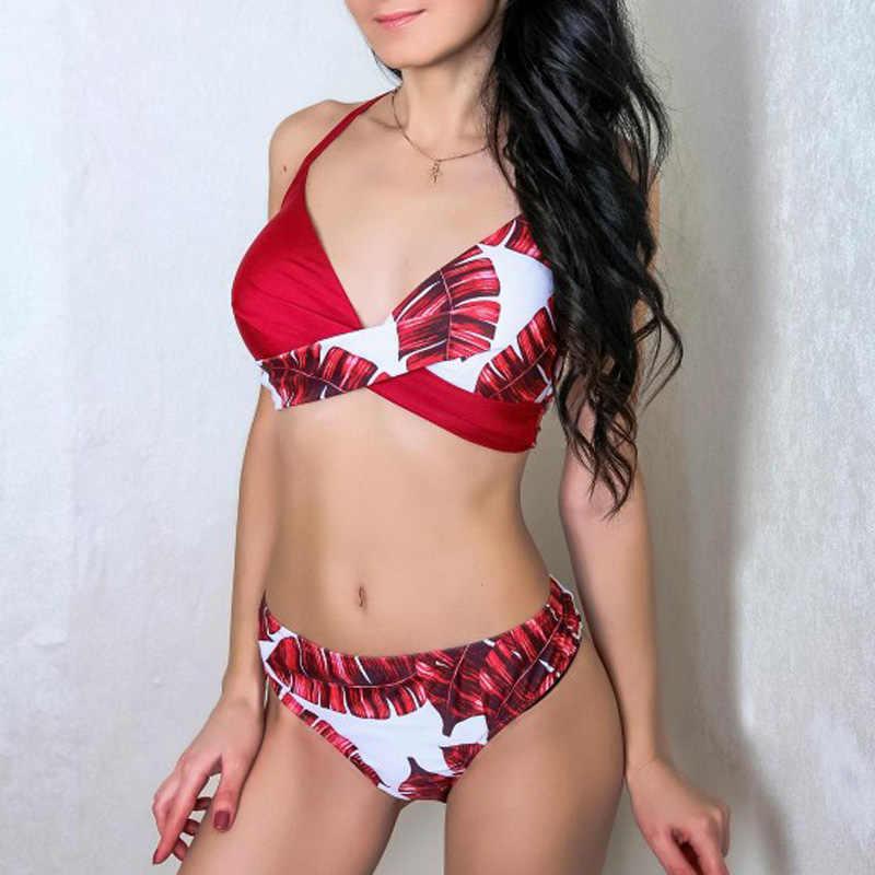Riseado Sexy Push Up Bikini Leaf Print Badmode Vrouwen Zomer Badpak Vrouwen Halter Biquini Beach Wear Bikini Mujer