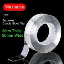 Fita nano forte stickiness 2mm fita clara traceless impermeável dupla face mutil-função lavável e reutilizável