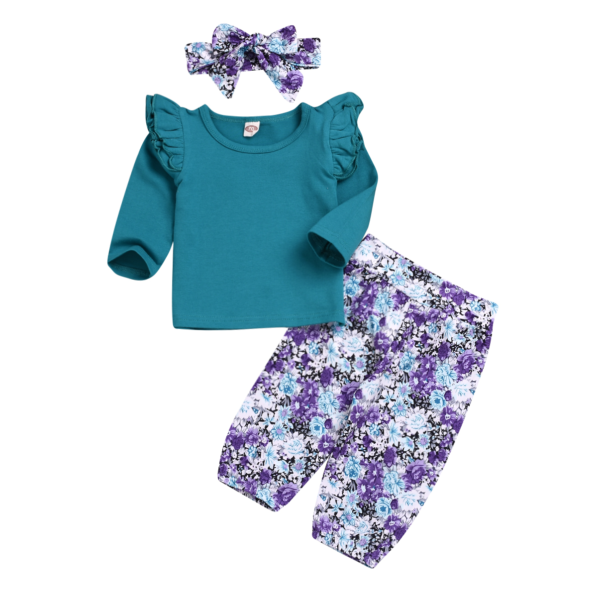 3Pcs Set Baby Girls Floral Print Tops Ruffled Pants Headband Autumn Outfits Suit