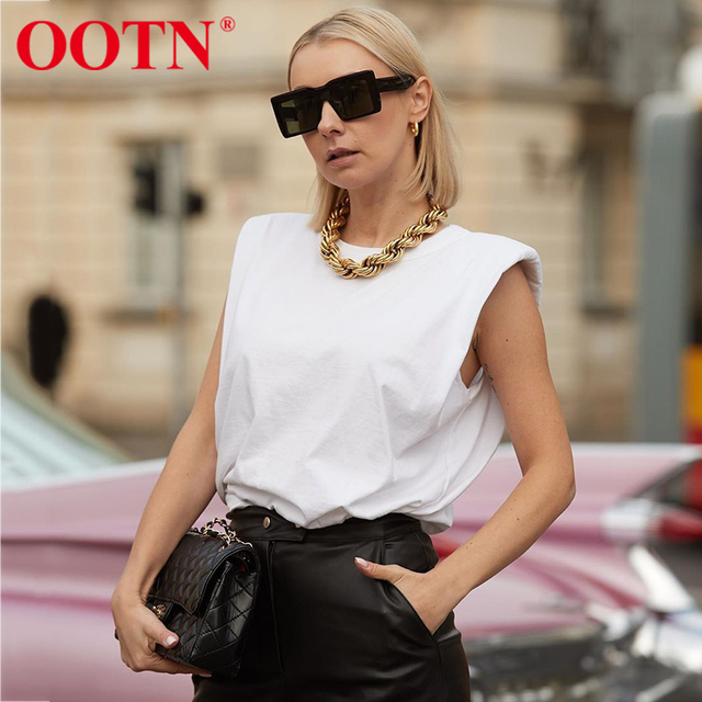 OOTN Summer Sleeveless Top Female O Neck White Women Blouse Shirt Ladies Loose solid Chic Casual Blouses Black 2020 Cotton Brown