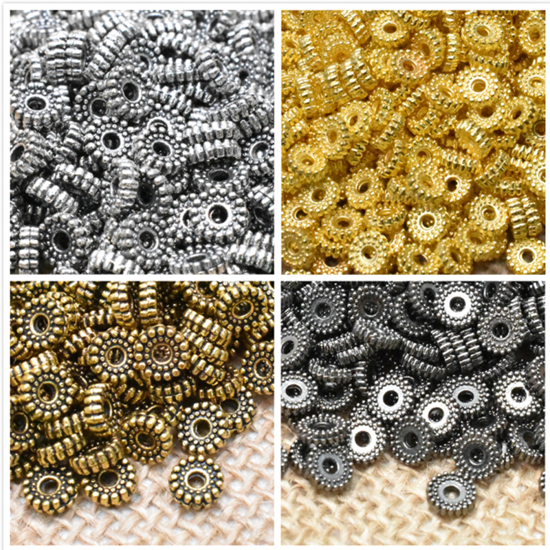 Wholesale 6mm 50pcsTibetan Metal Spacer Round Charm Beads Silver Gold Spacer Beads Fit DIY Bracelet Jewelry Making Findings