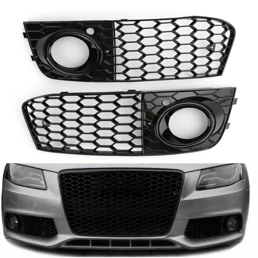 Areyourshop For Audi A4 B8 RS4 2009 2010 2011 2012 Pair Honeycomb Mesh Fog Light Open Vent Grill Intake Cover A4 Grille Car Part