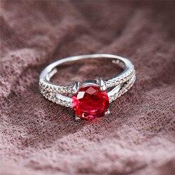 Bague de mariage en Zircon rouge pour femmes, bague de mariage ronde de fiançailles, couleur argent, à breloques, pour femmes