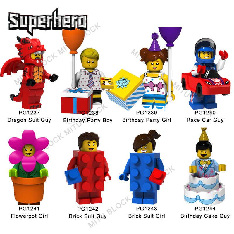 1Pcs Legoelys Super Heroes Vestito Del Drago Ragazzo Festa di Compleanno Della Ragazza del Ragazzo di Auto Da Corsa Ragazzo Vaso di Fiori Della Ragazza del Vestito del Ragazzo Della Ragazza edificio di Mattoni