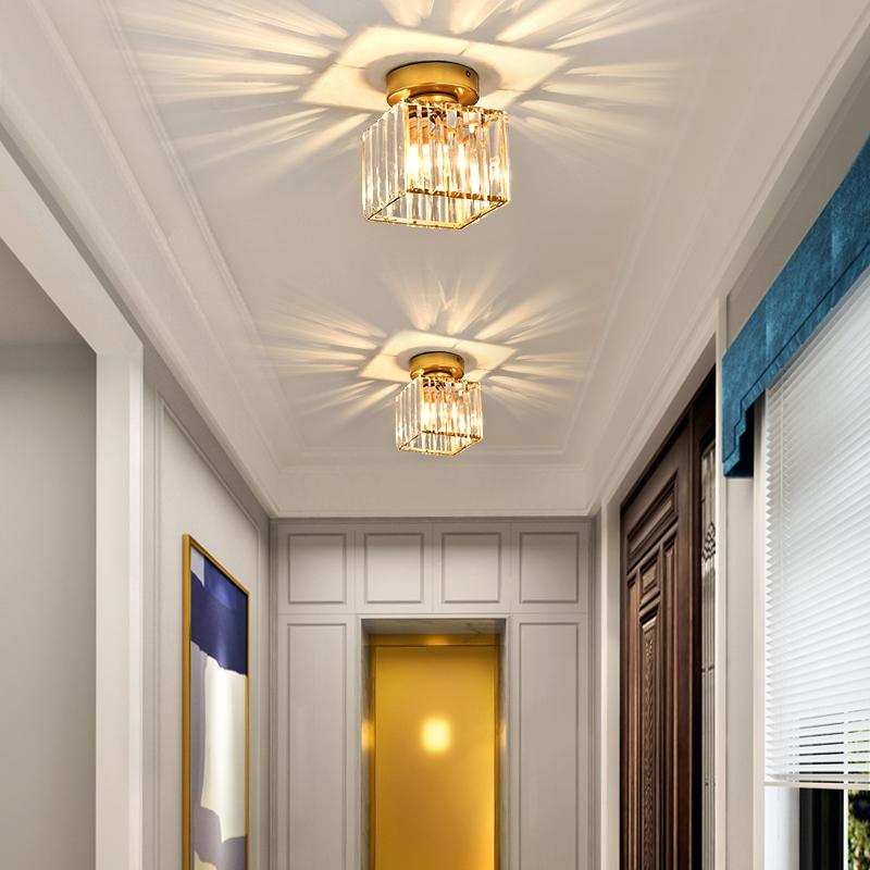 Nordic Crystal LED Ceiling light Fixtures Gold/Black Crystal Aisle Stair Entrance Light Plafonnier Decor corridor Ceiling Lamp
