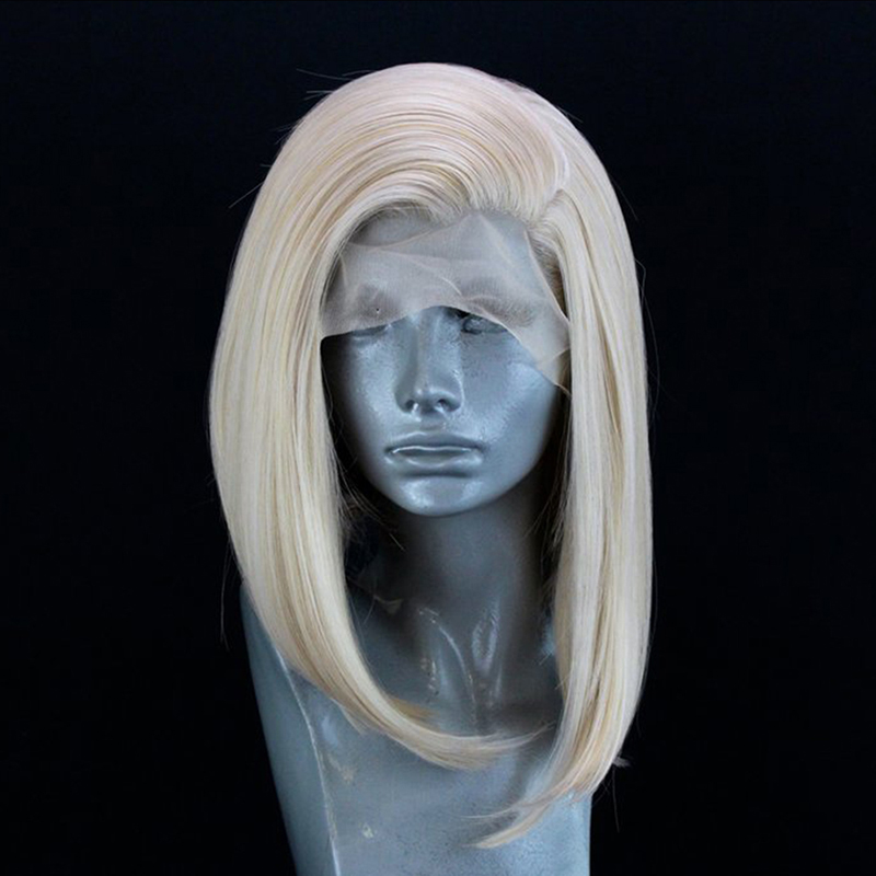 QUINLUX WIGS Blonde Natural Stright Short Bob Hair Heat Resistant Mix Color Synthetic Lace Front Wigs For Women With Free Part