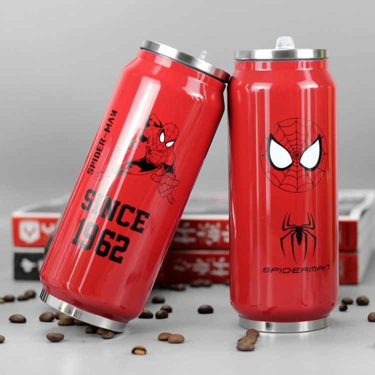 500ml ขวดสแตนเลสการ์ตูนน่ารักกระป๋องโค้กอุ่น Spiderman Captain America Batman Superman Series น้ำขวด