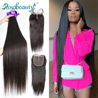 Rosabeauty 28 30 32 дюйма перуанские пучки волос прямые 3 4 пучка с кружевной застежкой Remy человеческие волосы и закрытие