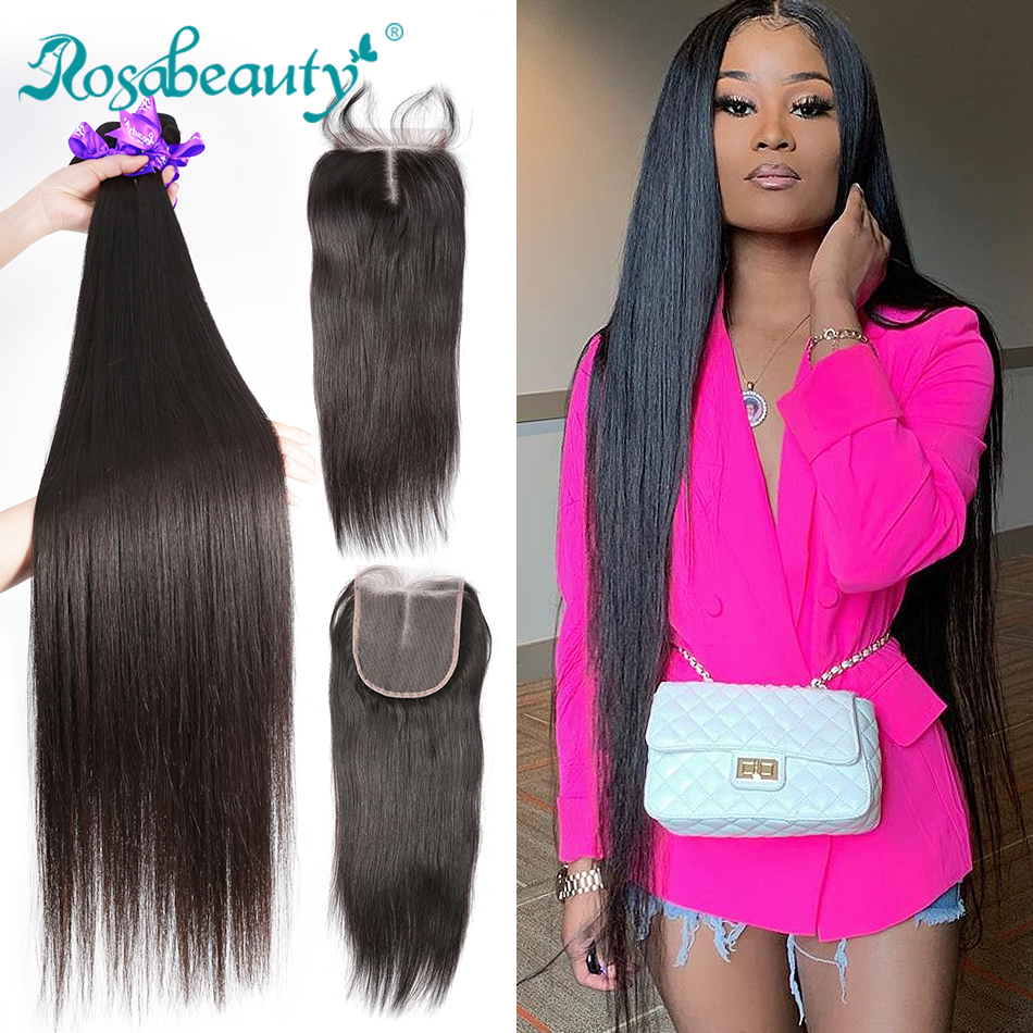 Rosabeauty Hair-Bundles Closure Human-Hair Remy Straight 32inch Peruvian with Lace And title=
