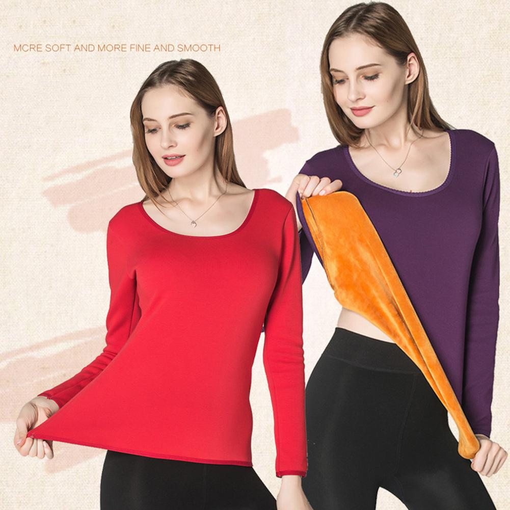 Winter Thick Women Long Sleeve Crew Neck Pullover Slim Thermals Underwear Top Slims Fit Elastic Perfect To Wear Under Your Shirt